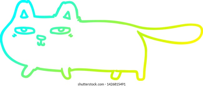 cold gradient line drawing of a cartoon sly cat