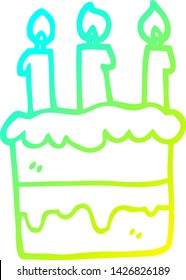 cold gradient line drawing of a cartoon birthday cake
