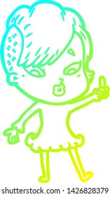 cold gradient line drawing of a cartoon surprised girl pointing
