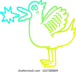 cold gradient line drawing of a cartoon quacking duck