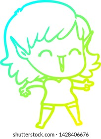 cold gradient line drawing of a cartoon elf girl