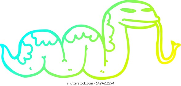 cold gradient line drawing of a cartoon slithering snake