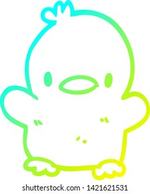 cold gradient line drawing of a cute cartoon chick