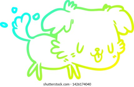 cold gradient line drawing of a cute dog wagging tail