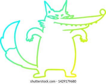 cold gradient line drawing of a sly cartoon wolf