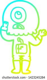 cold gradient line drawing of a worried cartoon cyclops alien spaceman