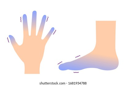 Cold hand and foot / blood circulation illustration (sensitivity to cold )