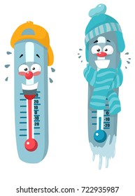 cold hot cartoon thermometer