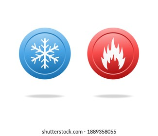 Cold and hot sign. Cooling and heating button. Illustration vector