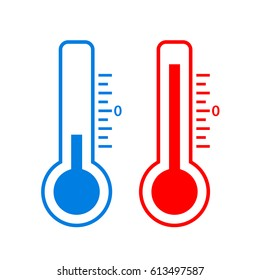 Cold and hot temperature vector icon on white background