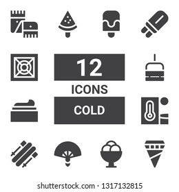 cold icon set. Collection of 12 filled cold icons included Ice cream, Fan, Skii, Heat, Cream, Chairlift, Popsicle, Cooler, Scarf