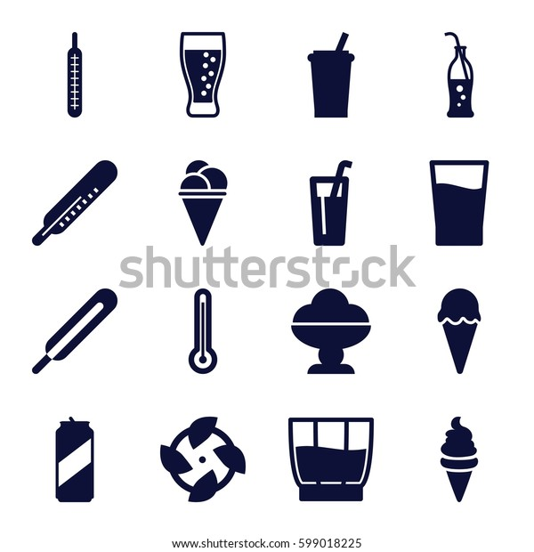 cold icons set. Set of 16 cold filled icons such as thermometer, ice cream, themometer, soda bottle, drink, soda, beer can