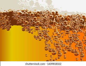 Cold lager beer drink with bubbles and drops detail
