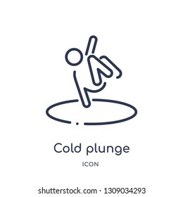 cold plunge icon from sauna outline collection. Thin line cold plunge icon isolated on white background.