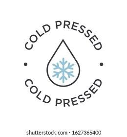 Cold pressed icon for labels of juices, oils and other products. Round symbol.