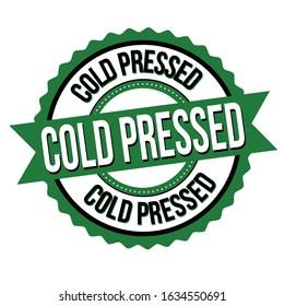 Cold pressed label or sticker on white background, vector illustration