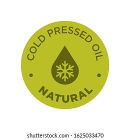 Cold pressed oil icon. Round and green symbol.