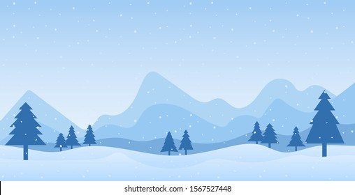 Cold scene and mountain landscape in flat design for banner, template, background - vector illustration Eps 10.
