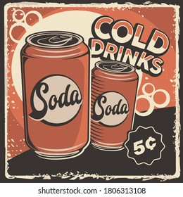 Cold Soft Drink Retro Poster