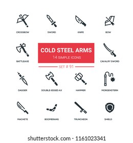 Cold steel arms - flat design style icons set, solid pictograms. Knife, bow, battle axe, crossbow, cavalry sword, dagger, double-edged ax, hammer, morgenstern, machete boomerang truncheon shield