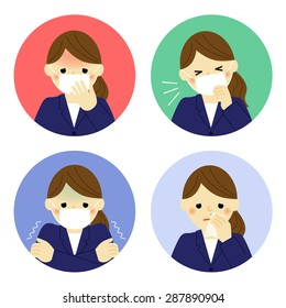 Cold symptoms of business woman / Vector EPS 10 illustration