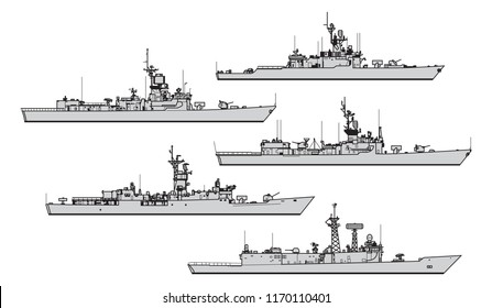 Cold war. US frigates