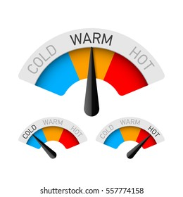 Cold, warm and hot temperature gauge vector illustration