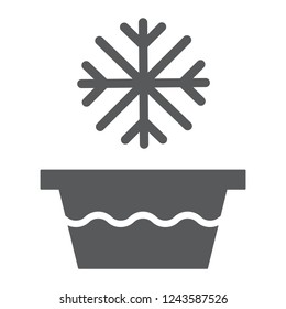 Cold water glyph icon, temperature and wash, basin with snowflake sign, vector graphics, a solid pattern on a white background, eps 10.