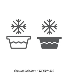 Cold water line and glyph icon, temperature and wash, basin with snowflake sign, vector graphics, a linear pattern on a white background, eps 10.