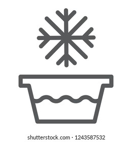 Cold water line icon, temperature and wash, basin with snowflake sign, vector graphics, a linear pattern on a white background, eps 10.