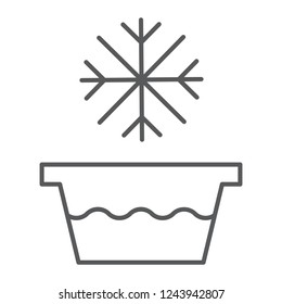 Cold water thin line icon, temperature and wash, basin with snowflake sign, vector graphics, a linear pattern on a white background, eps 10.