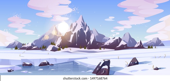 Cold winter in Canada, wild northern nature rocky landscape cartoon vector background with morning sun rising over mountains snowy peaks, field of snow, frozen, ice-bound river or lake illustration