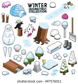 Cold winter collection, items for season of ice and snow. Isometric vector set.