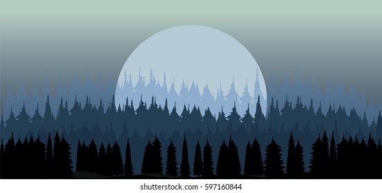 cold winter forest and full moon  vector illustration , nature background