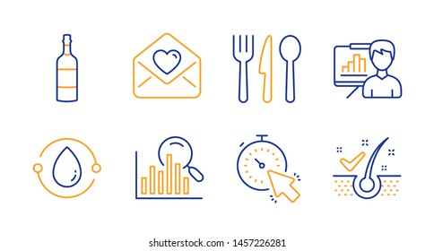 Cold-pressed oil, Search and Love letter line icons set. Presentation board, Timer and Food signs. Brandy bottle, Anti-dandruff flakes symbols. Organic tested, Analytics. Business set. Vector