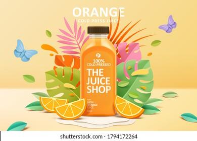 Cold-pressed orange juice ad template in colorful paper cut design, concept of natural garden or farm, 3d illustration