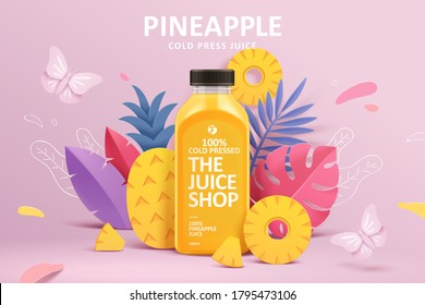 Cold-pressed pineapple juice ad template in colorful paper cut design, concept of natural garden or farm, 3d illustration