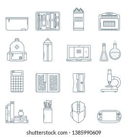 Colection of school supplies or stationery icons in flat line style. Back to school thin outline symbols: pen case, pencil box, backpack, laptop, books, sharpener, flask, microscope, calculator