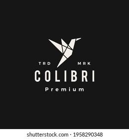 colibri bird geometric hipster vintage logo vector icon illustration