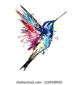 Colibri bird. hand drown point, vector illustration
