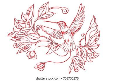 Colibri detail design element floral motive