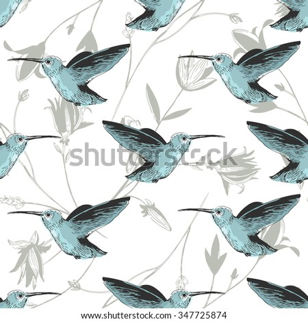 Colibri Floral Hibiscus Plants Pattern Stock Vector Royalty Free