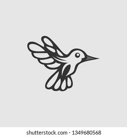 Colibri or humming bird icons. Vector isolated set of flying birds with spread flittering wings
