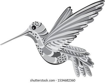 Colibri hummingbird cute illustration. Isolated image on white background - Vector