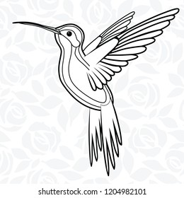 Colibri or Hummingbirds for logo, icon, t-shirt, mascot, poster vector illustration for t-shirt. Sketch tattoo design.