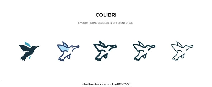 colibri icon in different style vector illustration. two colored and black colibri vector icons designed in filled, outline, line and stroke style can be used for web, mobile, ui