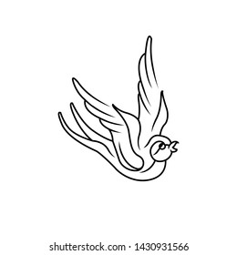 Colibri outline of hummingbird icons. Vector isolated set of flying birds with spread fluttering wings