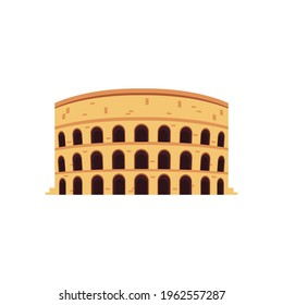 Coliseum amphitheater in Rome without time damage signs, flat vector illustration isolated on white background. Symbol or icon of ancient Roman culture and architecture.