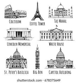 Coliseum, Eiffel Tower, Taj Mahal, Lincoln Memorial, White House, Saint Peter's Basilica, Elizabeth Tower (Big Ben), United States Capitol Building