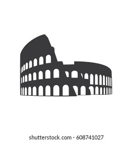Coliseum icon, landmark illustration, vector design.